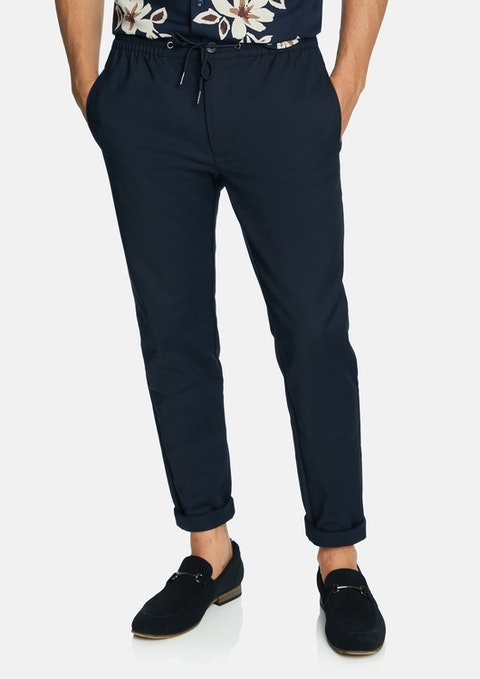Navy Freight Super Stretch Cropped Chinos