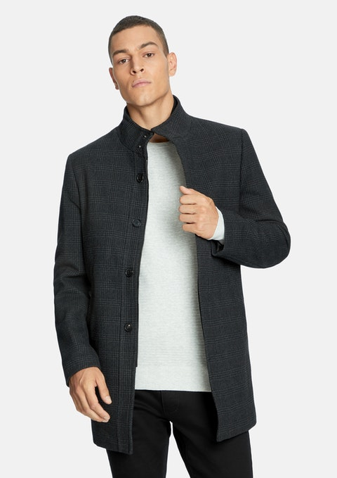 Charcoal Harvey Check Funnel Coat