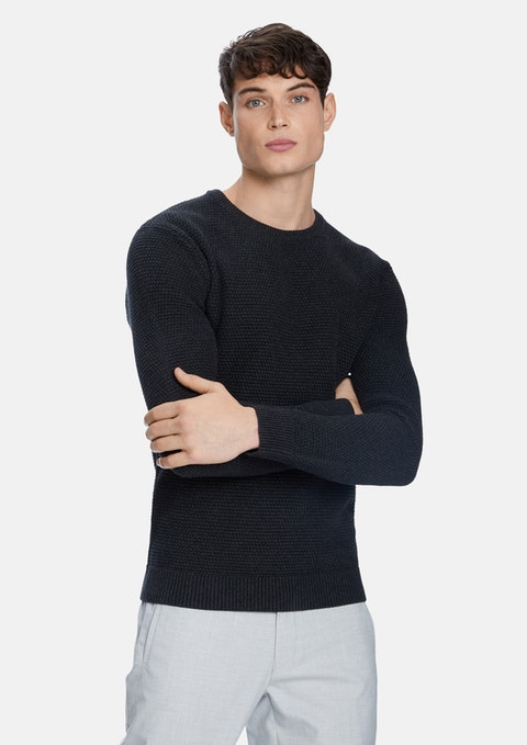 Charcoal Jayce Crew Neck Knit Jumper