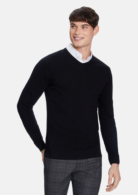 Black Shay V Neck Knit Jumper