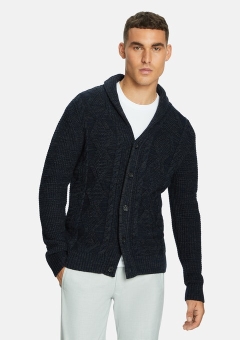 Navy Max Textured Cardigan