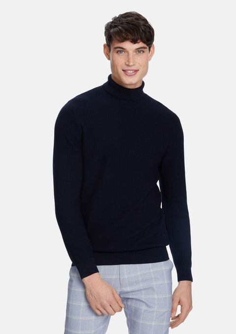 Navy Emporio Turtleneck Knit Jumper