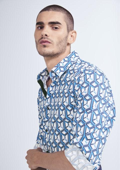 Blue Stanton Geo Slim Shirt