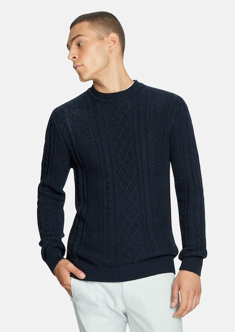 Navy Tryon  Cable Knit Jumper