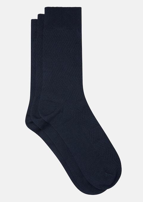 Navy Textured Bamboo Dress Socks